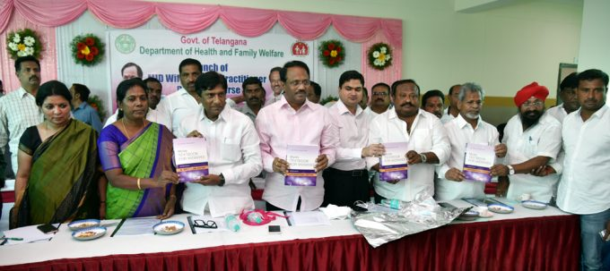Health Minister Dr C Laxma Reddy releasing the manual of midwifery nursing course.