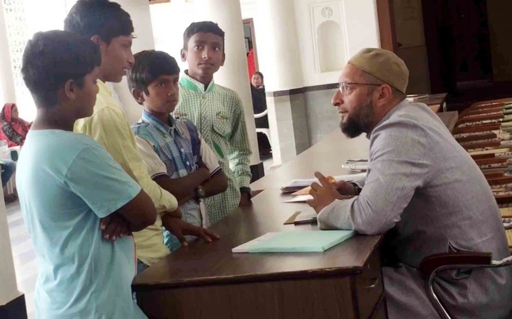 Group of youngsters from Golconda school meeting MIM president Asaduddin Owaisi.