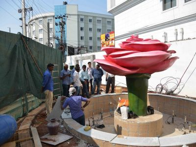 The rose garden being readied at old Saifabad police station in Lakdikapul.