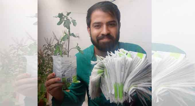 Environmentalist turns discarded milk packets into seedling bags